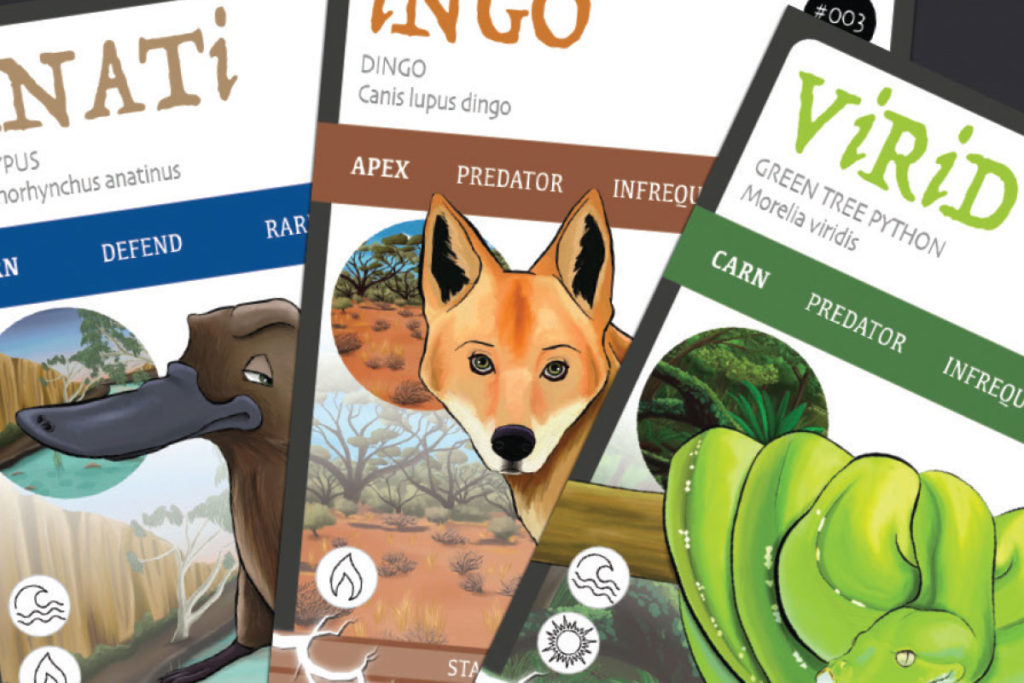 ANiMOZ - Fight for Survival - The game changing conservation - Collectible card game - Australian animals - Whats on an ANiMOZ card - Dingo - Platypus - Green tree python