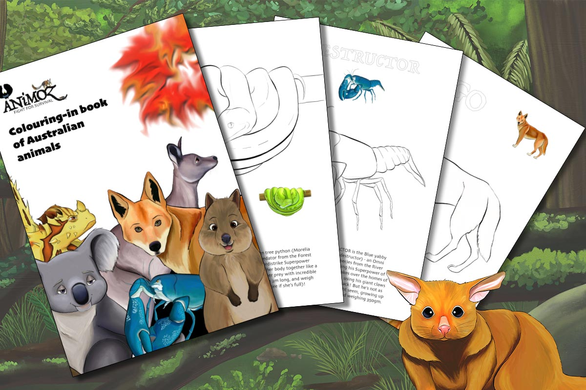 ANiMOZ - Colouring-in book of Australian animals - FREE Printable PDF 2020