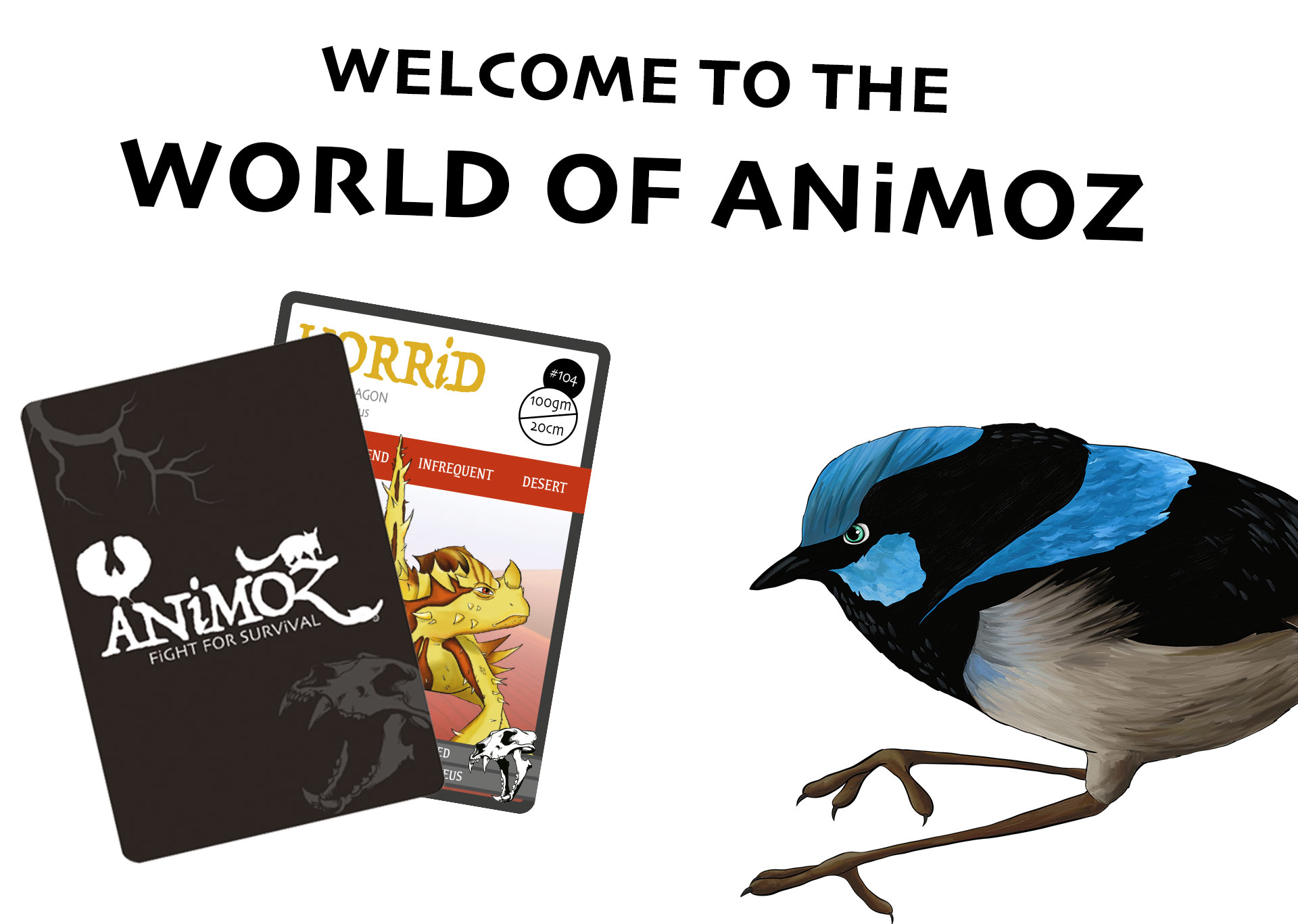 ANiMOZ - Fight for Survival ABOUT page - About ANiMOZ - collectible card game of Australian animals - What is ANiMOZ card game - Banner image 1